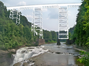 What engineering mistake is but one of the few remnants of what was once the longest railroad bridge in Greater Western New York?